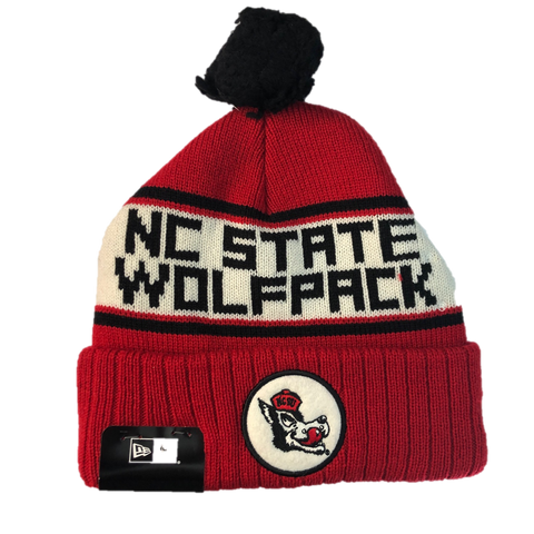 NC State Wolfpack New Era Red and White Slobbering Wolf Knit Beanie w/Pom