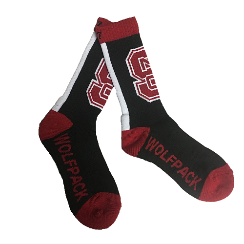 North Carolina State Wolfpack Black Bolt Crew Socks