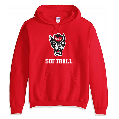 NC State Wolfpack Red Wolfhead Softball Hooded Sweatshirt