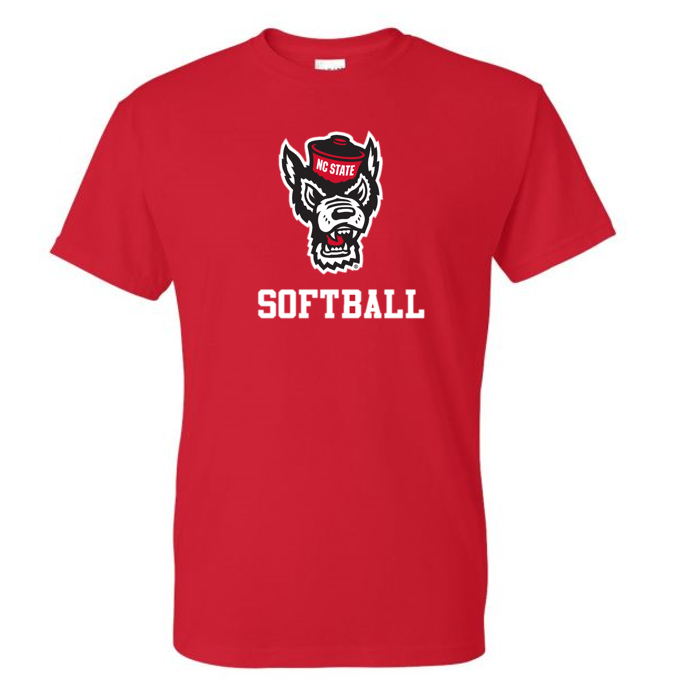 NC State Wolfpack Youth Red Wolfhead Softball T-Shirt