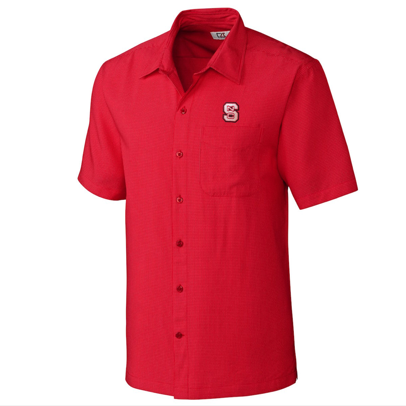 NC State Wolfpack Cutter and Buck Red Solana Check short Sleeve Dress Shirt