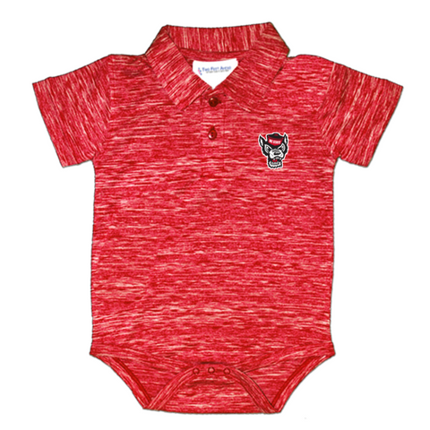 NC State Wolfpack Infant Heathered Red Wolfhead Spacedye Onesie