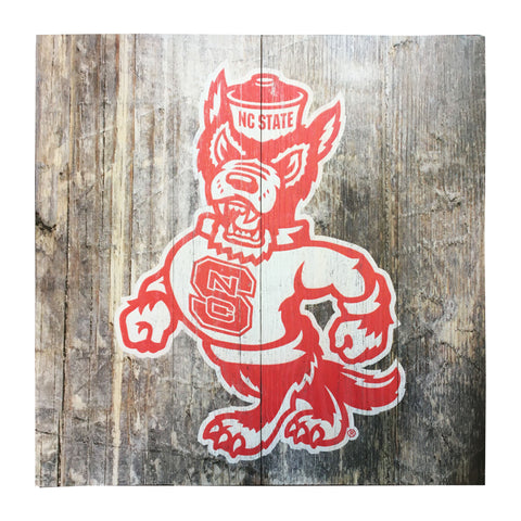 NC State Wolfpack Rustic Red Strutting Wolf Logo Mill Wood Art