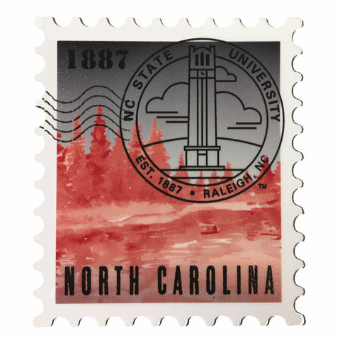 "NC State Wolfpack 3"" Bell Tower Postage Stamp Rugged Sticker"
