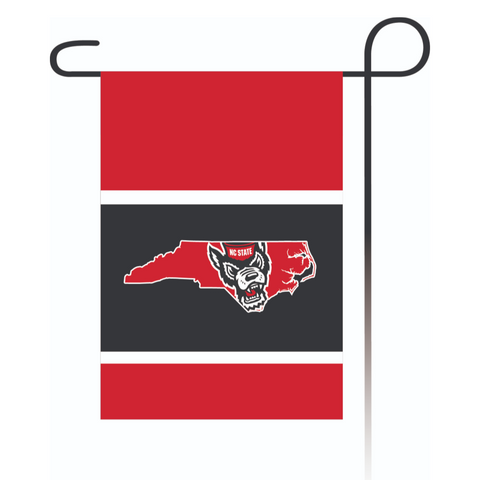 NC State Wolfpack Wolfhead State Outline Garden Flag