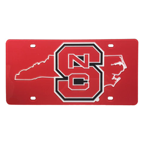 NC State Wolfpack Red Block S State Outline License Plate