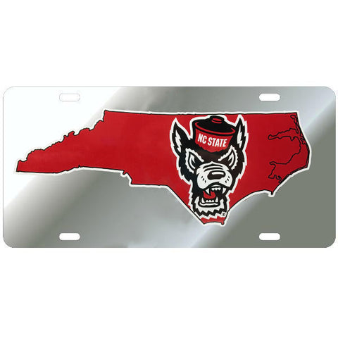 NC State Wolfpack Silver State Outline Wolfhead License Plate