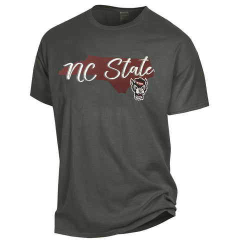 NC State Wolfpack Dark Grey Comfort Wash State Outline w/ Wolfhead T-Shirt