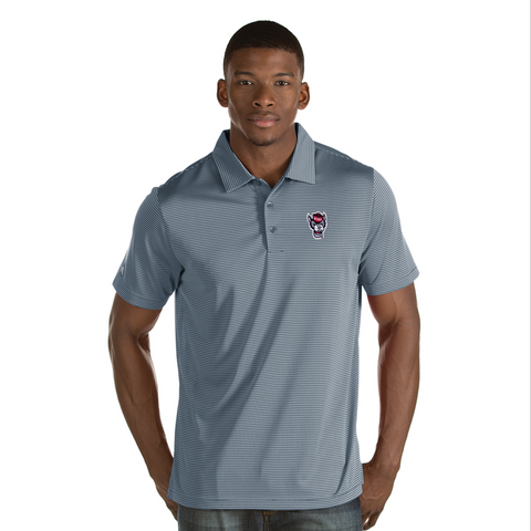 NC State Wolfpack Antigua Men's Grey and White Wolfhead Quest Polo
