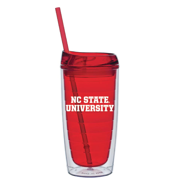 NC State Wolfpack Red 16 oz. Cool Cup with Straw