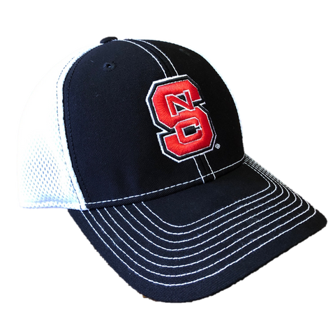 NC State Wolfpack Black and White Sructured Block S Spacer Mesh Hat