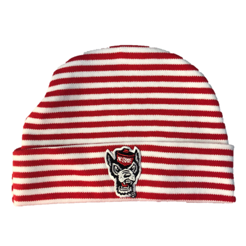 NC State Wolfpack Creative Red and White Striped Wolfhead Knit Hat
