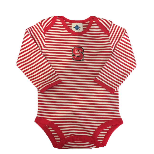 NC State Wolfpack Infant Red and White Long Sleeve Creeper