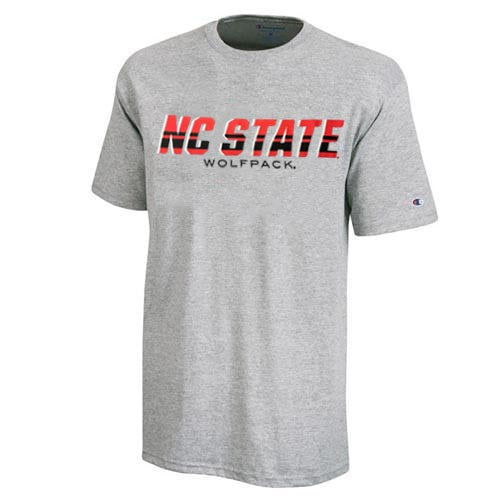 NC State Wolfpack Champion Grey NC State with Stripes Over Wolfpack T-Shirt
