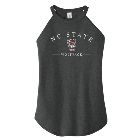 NC State Wolfpack Women's Black Wolfhead Scoop Neck Curved Hem Tank Top