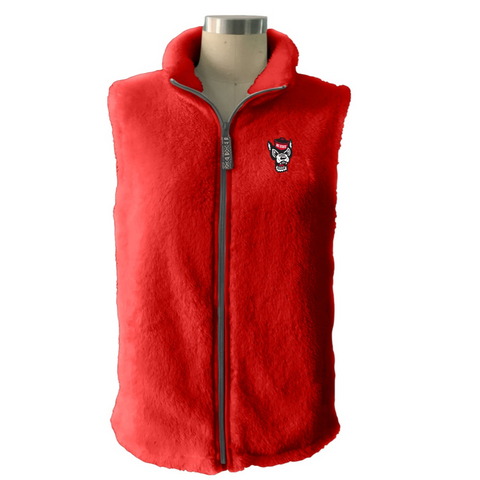 NC State Wolfpack Women's Red Double Plush Wolfhead Full Zip Vest