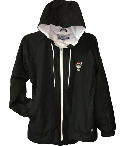 NC State Wolfpack Women's Black Wolfhead Full Zip Rain Jacket