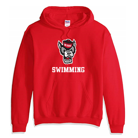 NC State Wolfpack Red Wolfhead Swimming Hooded Sweatshirt