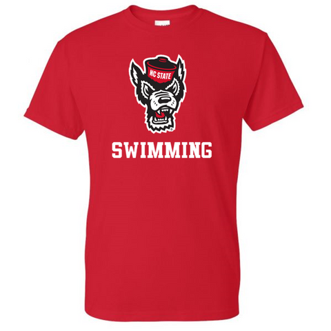 NC State Wolfpack Youth Red Wolfhead Swimming T-Shirt