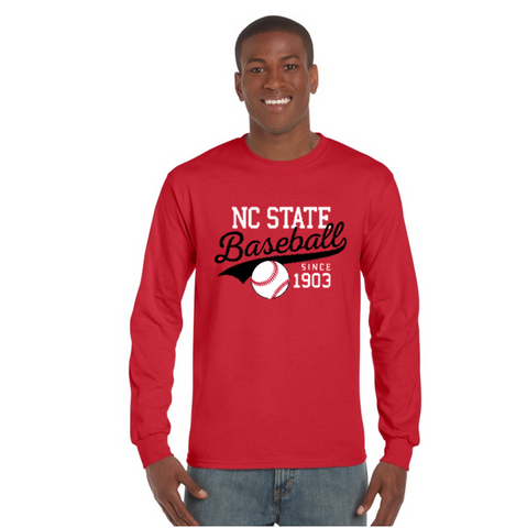 NC State Wolfpack Red Baseball Tailspin L/S T-Shirt
