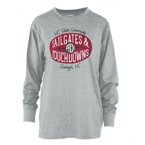 NC State Wolfpack Women's Grey Tailgates and Touchdowns Long Sleeve Melange T-Shirt