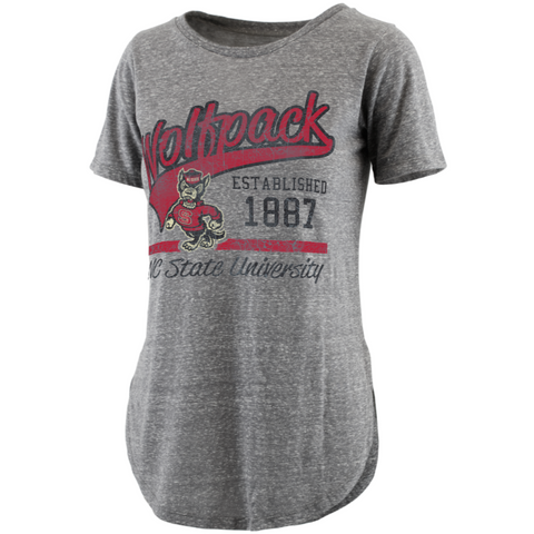 NC State Wolfpack Women's Heathered Grey Tailspin Rounded Bottom Knobi T-Shirt