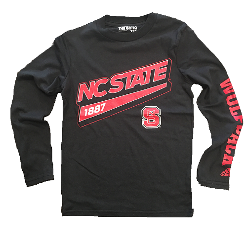 NC State Wolfpack Adidas Youth Black Tailsweep Long Sleeve T-Shirt