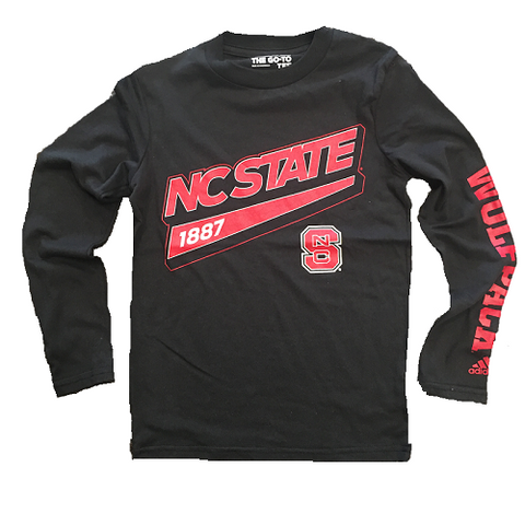 NC State Wolfpack Adidas Kids Black Tailsweep Long Sleeve T-Shirt