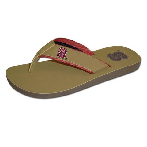 NC State Wolfpack Tan Block S Embroidered Sandal