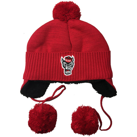 NC State Wolfpack Infant Red Teddy Wolfhead Tassel Knit Beanie