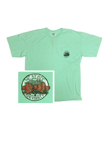 NC State Wolfpack Green Wolfhead Bowtie Pocket T-Shirt