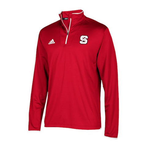 NC State Wolfpack Adidas Red 2018 Sideline Coaches 1/4 Zip Long Sleeve Jacket