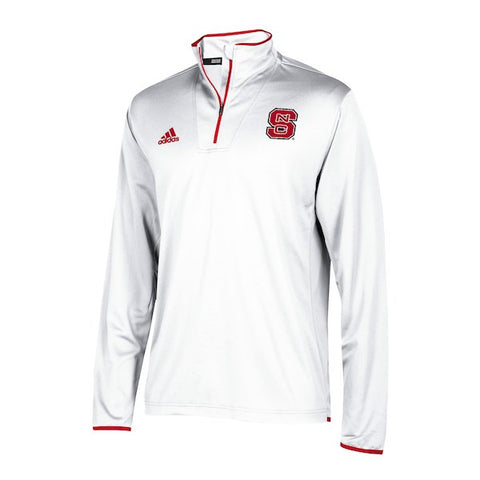 NC State Wolfpack Adidas White 2018 Sideline Coaches 1/4 Zip Long Sleeve Jacket