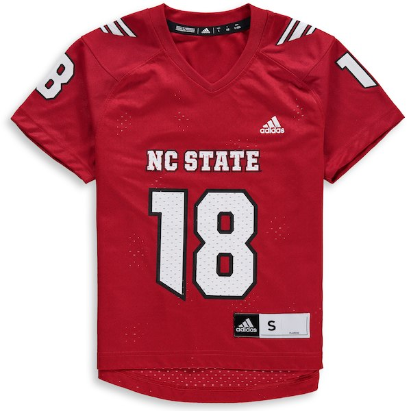 NC State Wolfpack Adidas Youth Red 2018 #18 Replica Football Jersey