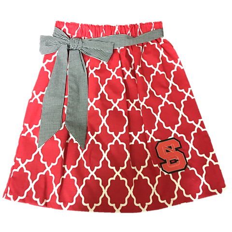 NC State Wolfpack Red and White Youth Tie Front Skirt