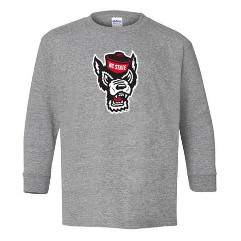 NC State Wolfpack Toddler Grey Wolfhead Long Sleeve T-Shirt
