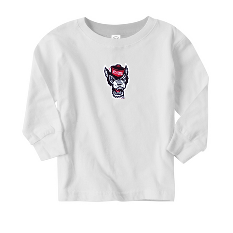 NC State Wolfpack Toddler White Wolfhead Long Sleeve T-Shirt