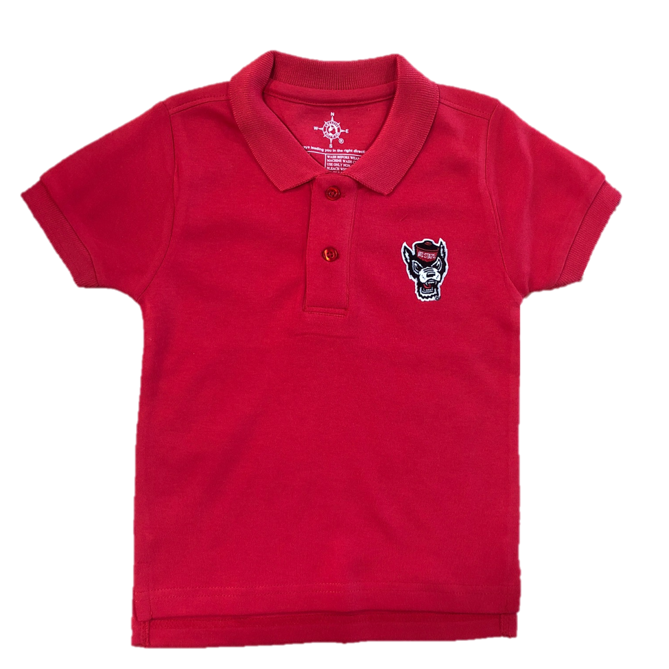 Nc State Wolfpack Toddler Red Wolfhead Polo Red And White Shop