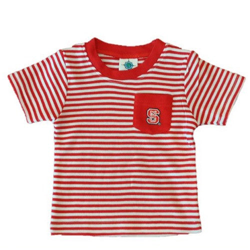 NC State Wolfpack Red and White Striped Pocket T-shirt