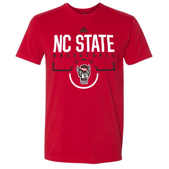Nc state wolfpack adidas 2018 red on court basketball t for Nc state basketball shirt