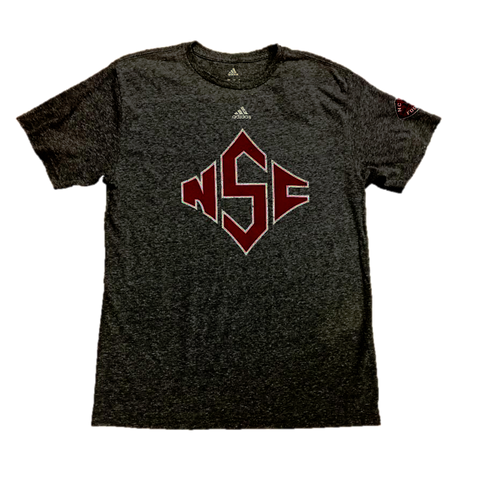NC State Wolfpack Adidas Grey Triblend 125 Years of Football Diamond S T-Shirt