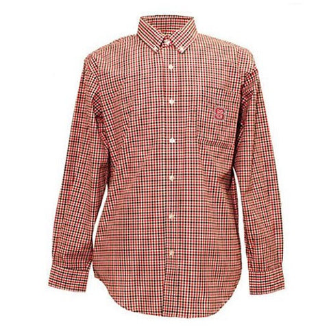 NC State Wolfpack Men's Red Check Block S Dress Shirt