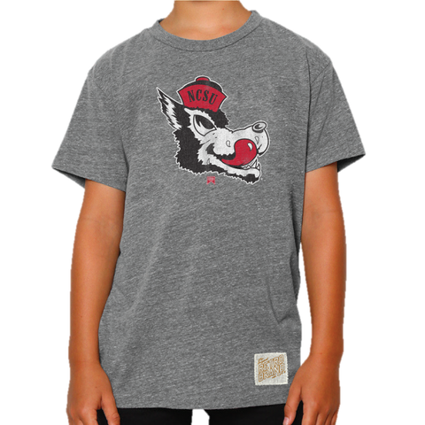 NC State Wolfpack Youth Grey Triblend Slobbering Wolf T-Shirt