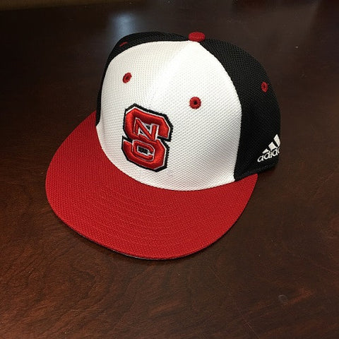 "NC State Wolfpack Adidas Tri-Color ""On-Field"" Mesh Baseball Performance Fitted Flatbill Hat"