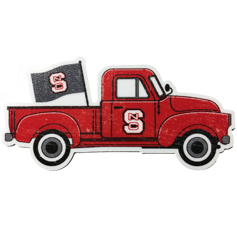 NC State Wolfpack Truck w/Flag Rugged Sticker