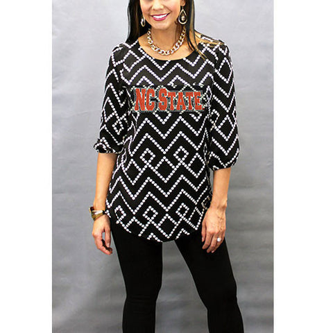 NC State Wolfpack Women's Black and White Tunic Blouse