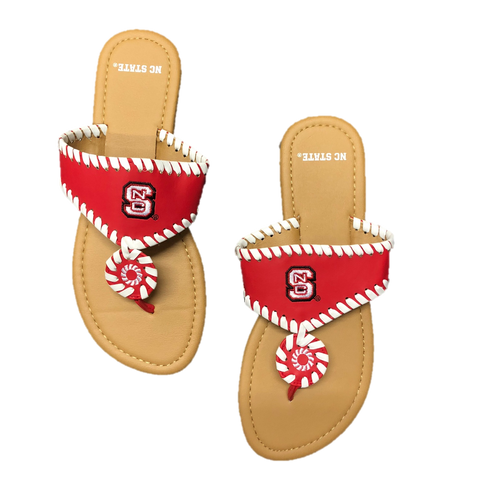NC State Wolfpack Women's Red and White Whipstitch Sandal