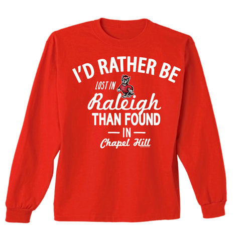 NC State Wolfpack Red Strutting Wolf Lost In Raleigh Long Sleeve T-Shirt