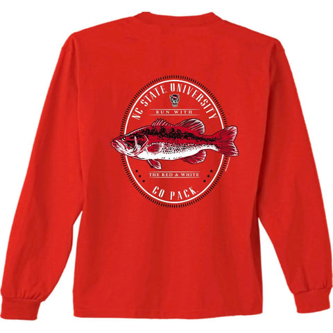 NC State Wolfpack Youth Red Oval Fish Long Sleeve T-Shirt