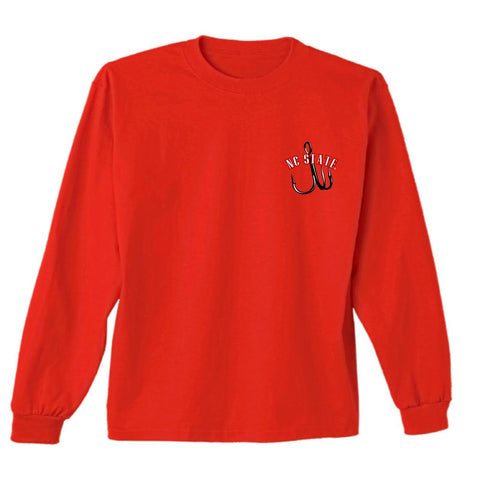 NC State Wolfpack Red Oval Fish Long Sleeve T-Shirt